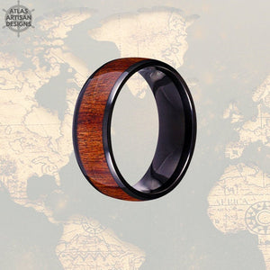 Wood Wedding Band Koa Wood Ring Mens Wedding Band Black Titanium Wedding Band Mens Ring, Wood Inlay Ring, Wood Anniversary Ring, Wooden Ring - Atlas Artisan Designs