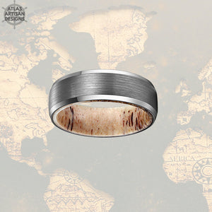 Beveled Deer Antler Ring Mens Wedding Band Silver Tungsten Ring 8mm Nature Wedding Band