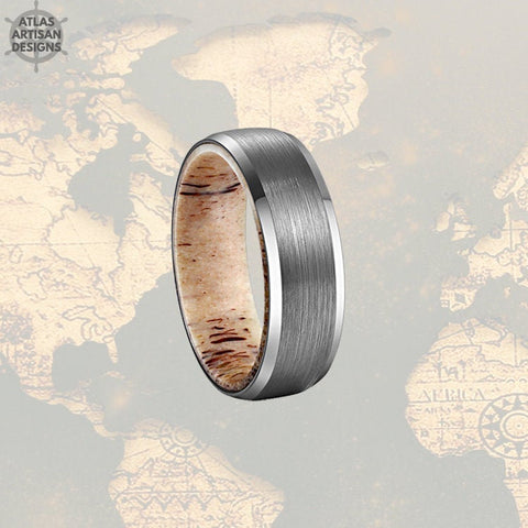 Beveled Deer Antler Ring Mens Wedding Band Silver Tungsten Ring 8mm Nature Wedding Band - Atlas Artisan Designs