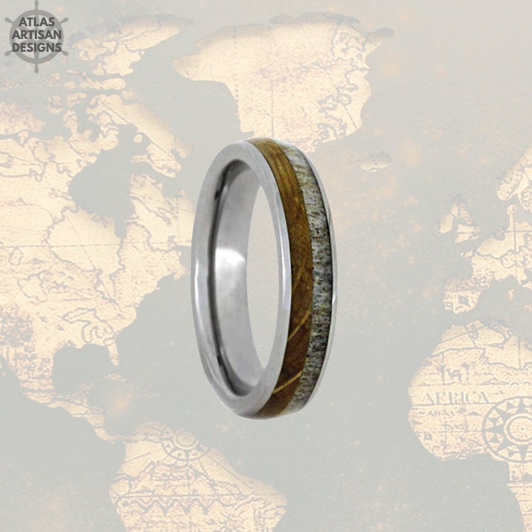 6mm Whiskey Barrel Ring Mens Wedding Band Tungsten Ring Deer Antler Ring Tungsten Wedding Band Mens Ring, Wood Wedding Band Mens Nature Ring