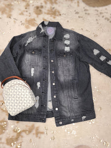 Oversized Distressed Black Slouch Denim Jacket