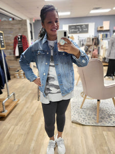 Distressed Denim Midi Jacket