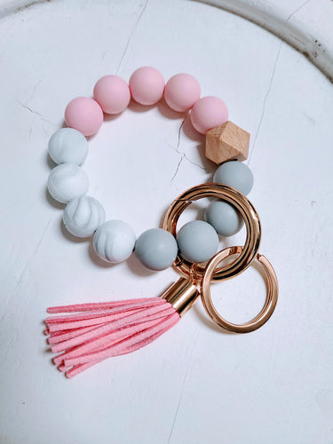 Silicone Bangle Keychain with Tassel