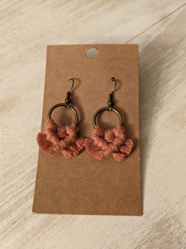 HK Macrame Micro Fringe Round Earrings($9)