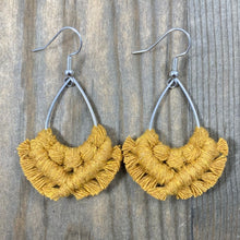 Load image into Gallery viewer, HK Macrame Teardrop Fringe Earrings