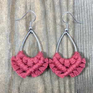 HK Macrame Teardrop Fringe Earrings