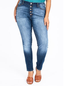 Donna Curvy Kancan Buttonfly High Rise Jeans