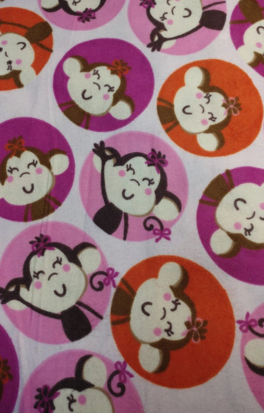 "Girly Monkey Circles pink flannel (42"" wide)"