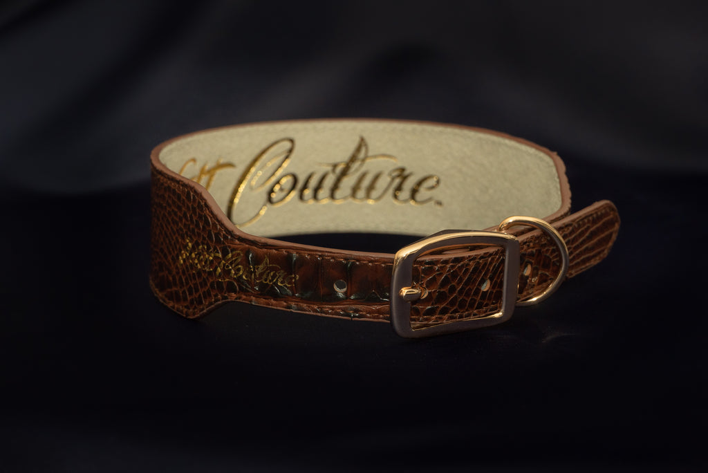 Brown Croc Leather Collar