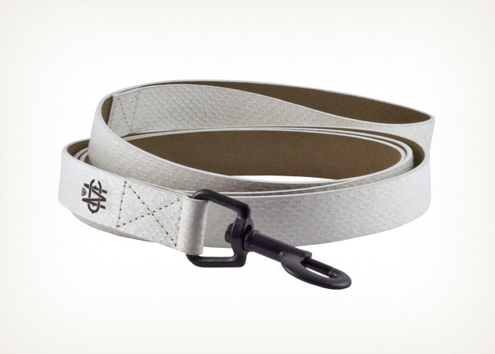 White Snake Leather Dog Leash