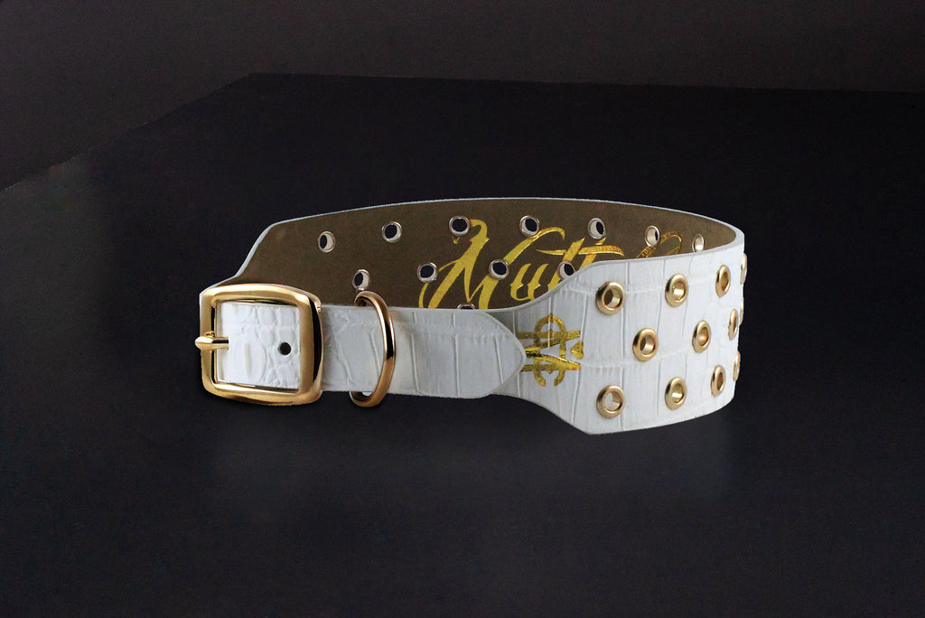 White Croc Dog Collar With Gold Eyelets