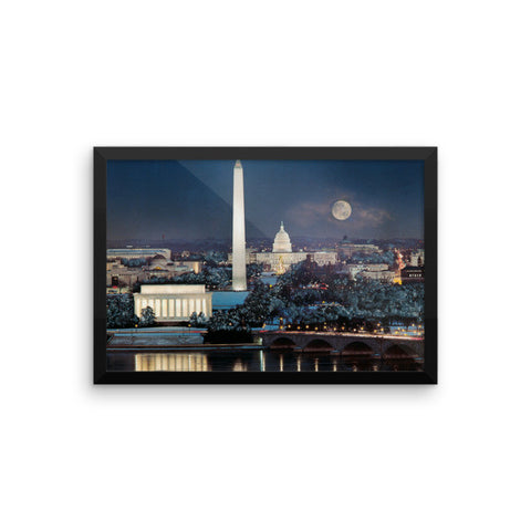 Washington Under Winter Moonlight (R-2) Framed photo paper poster