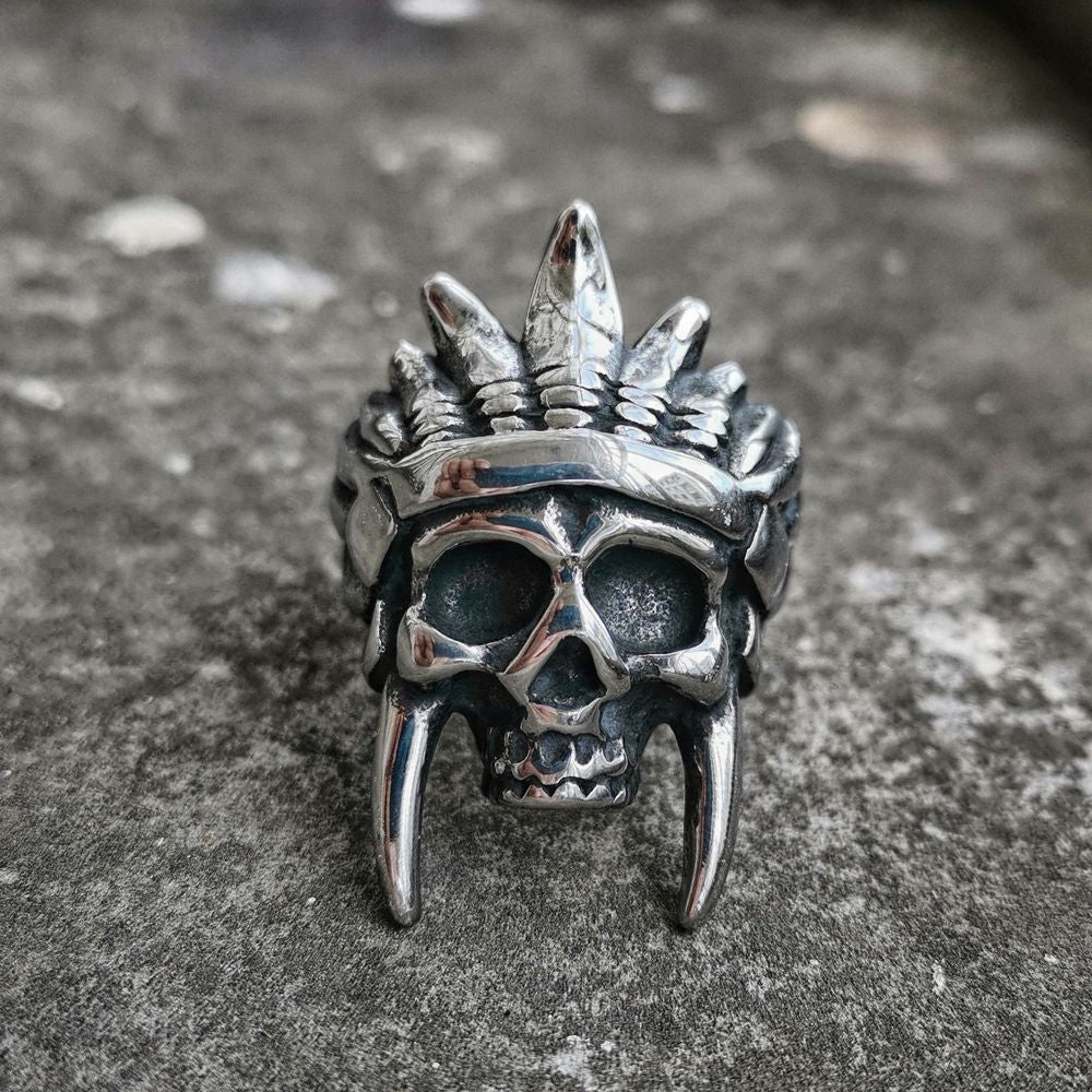 indian chief indian skull ring men sterling silver gothic native America indian jewelry