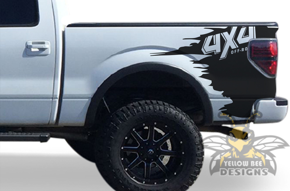 4x4 Graphics Stripes Bed Decals Ford F150 Super Crew Cab ...