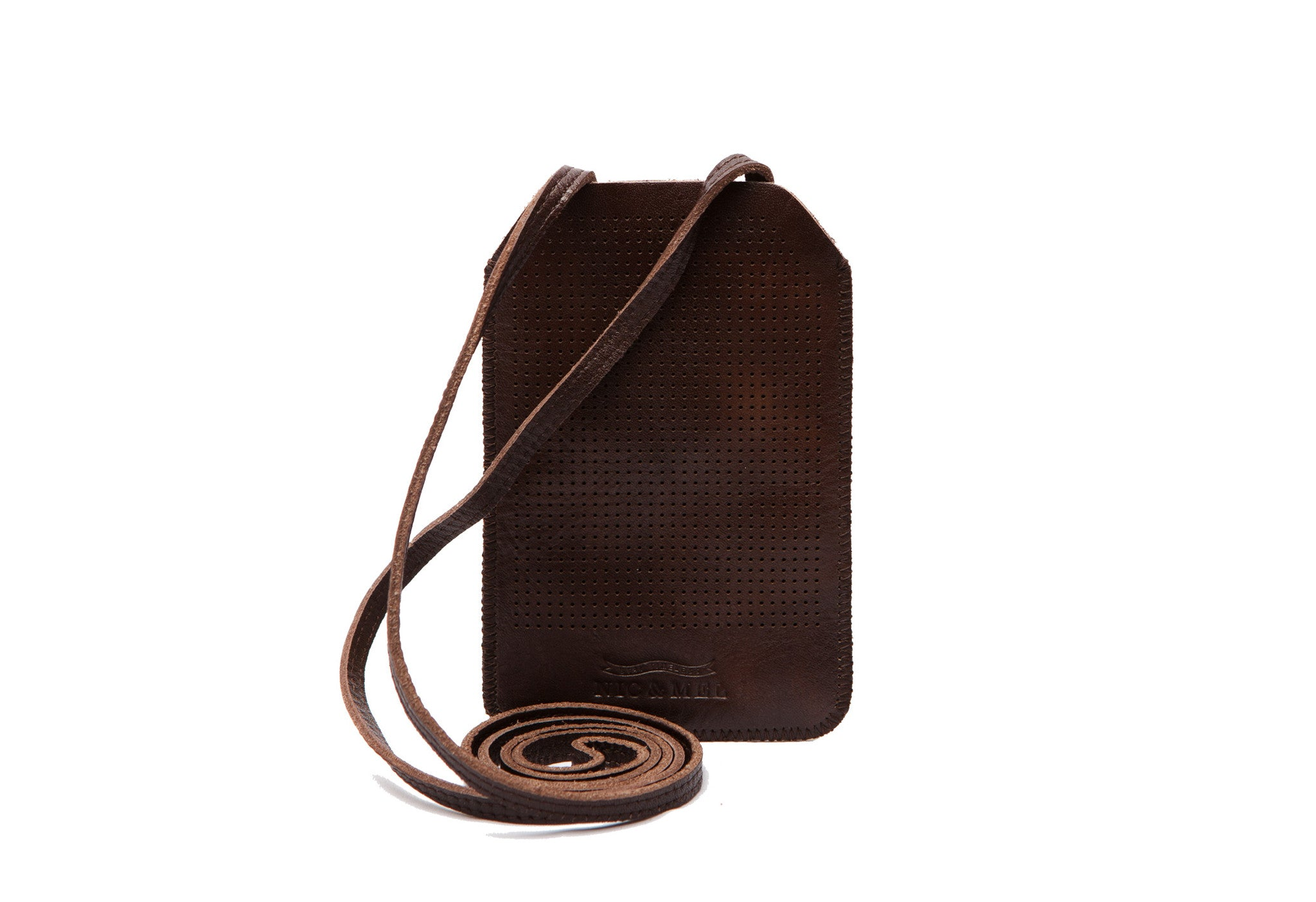iPhone holder 4 perforated  Dk Brown Strap