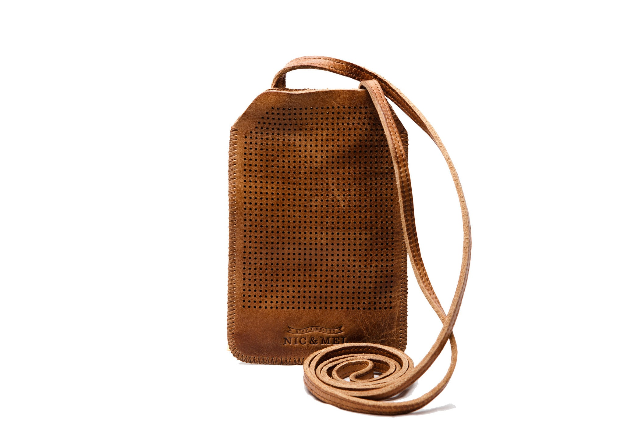 iPhone 4 holder perforated w strap Cognac