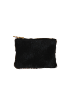 BLACK HAIR ON SMALL POUCH