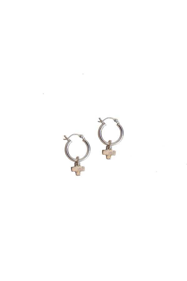X CHARM HOOP EARRINGS
