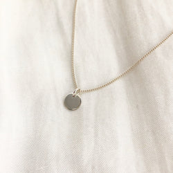 Silver Disc Necklace w/ Card