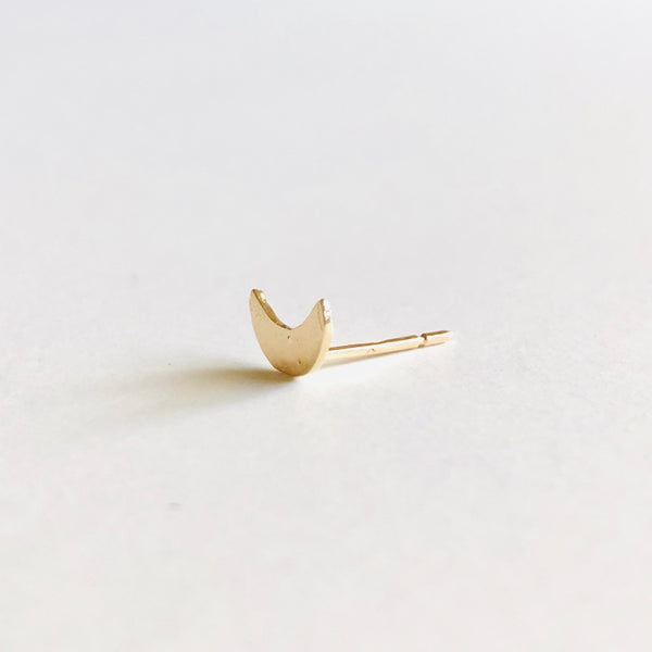 Moon Stud Earring 14k Gold