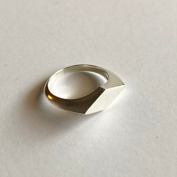 Diamond Signet Ring in Silver