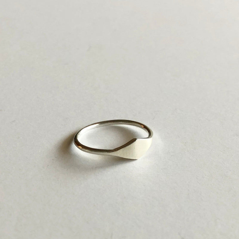 Small Diamond Signet in Silver