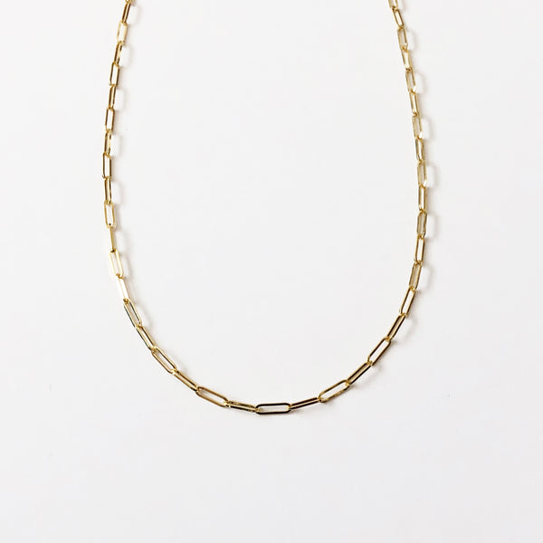 Form Large Link Necklace in 14k gold- paperclip chain