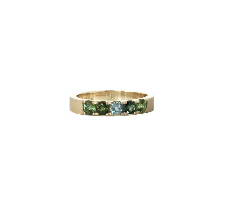 Big Sur Rings in 10k gold with Aqua Marine & Tourmalines.
