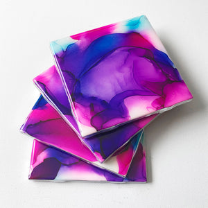 Alcohol Ink and Resin Coaster Set - Pink, Purple and Blue - Art By Taura