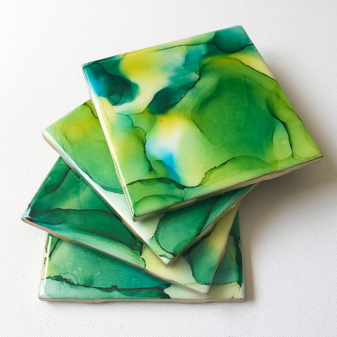Alcohol Ink and Resin Coaster Set - Yellow and Green - Art By Taura