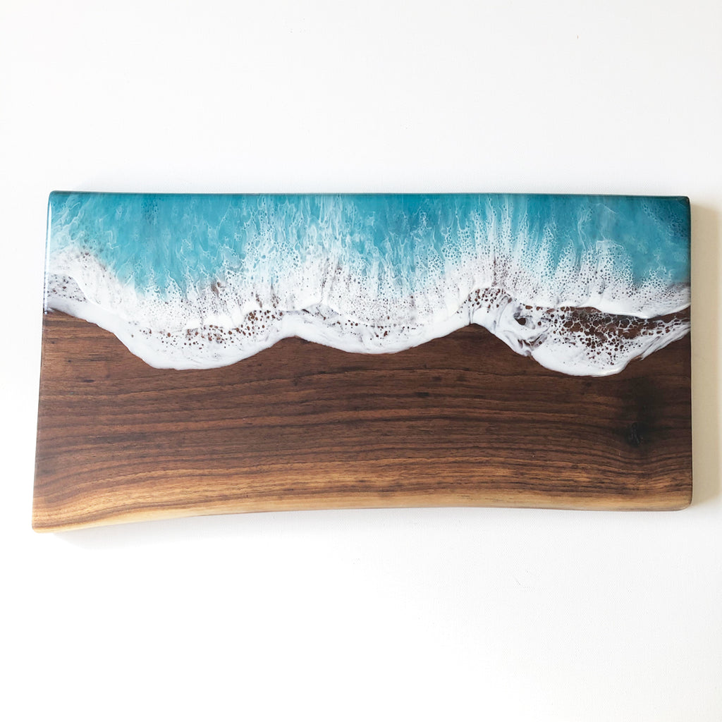 Aqua Ocean Wave Walnut Live Edge Charcuterie Board F - Art By Taura