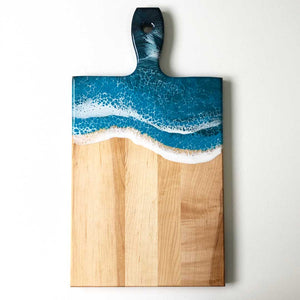 Teal Maple Cheese/Charcuterie Board with Handle - Art By Taura