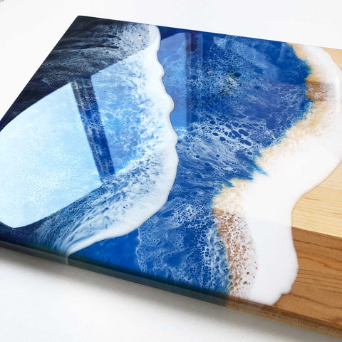 Ocean Wave Maple Wood Charcuterie Board Slab - C - Art By Taura