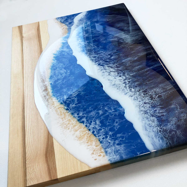 Ocean Wave Maple Wood Charcuterie Board Slab - B - Art By Taura