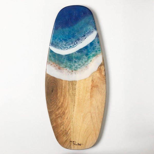 "Ocean Wave Mango Wood Charcuterie Board #3 8"" x 20"" - Art By Taura"