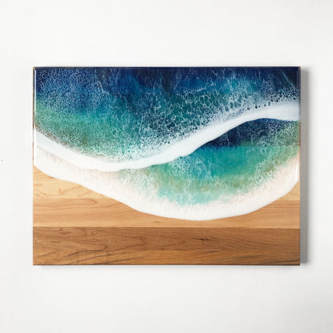 Ocean Wave Maple Wood Charcuterie Board Slab - Art By Taura