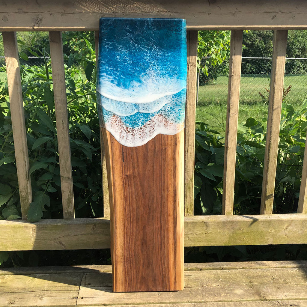 Long Teal Ocean Wave Walnut Live Edge Charcuterie Board A - Art By Taura
