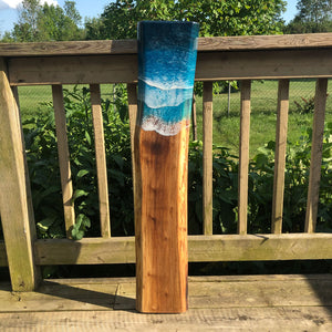 Long Teal Ocean Wave Walnut Live Edge Charcuterie Board B - Art By Taura