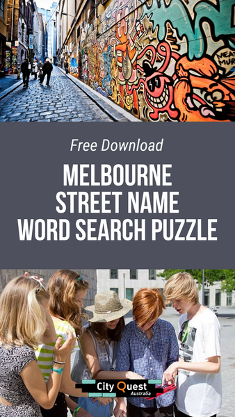 Melbourne Street Name Word Search
