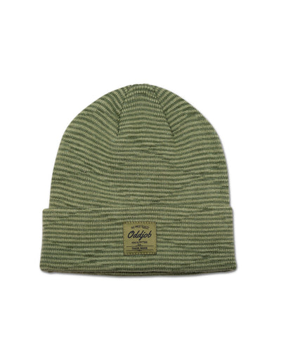Big Wool Beanie, Army Green Striped - Oddjob® Hats