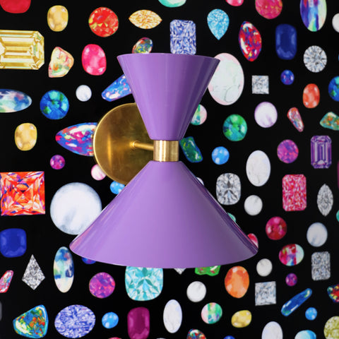 Purple Clancy on jeweled wallpaper by Julers Row