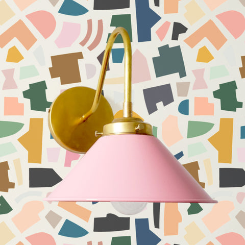 Pink and Brass sconce on a tile style wall paper by Kate Zaremba wallpaper