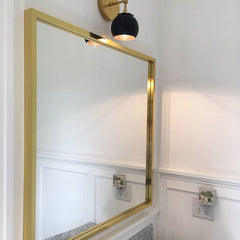 Black white brass bathroom sconce