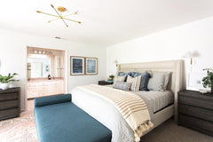 large carousel chandelier modern ceiling fixture in a bedroom makeover