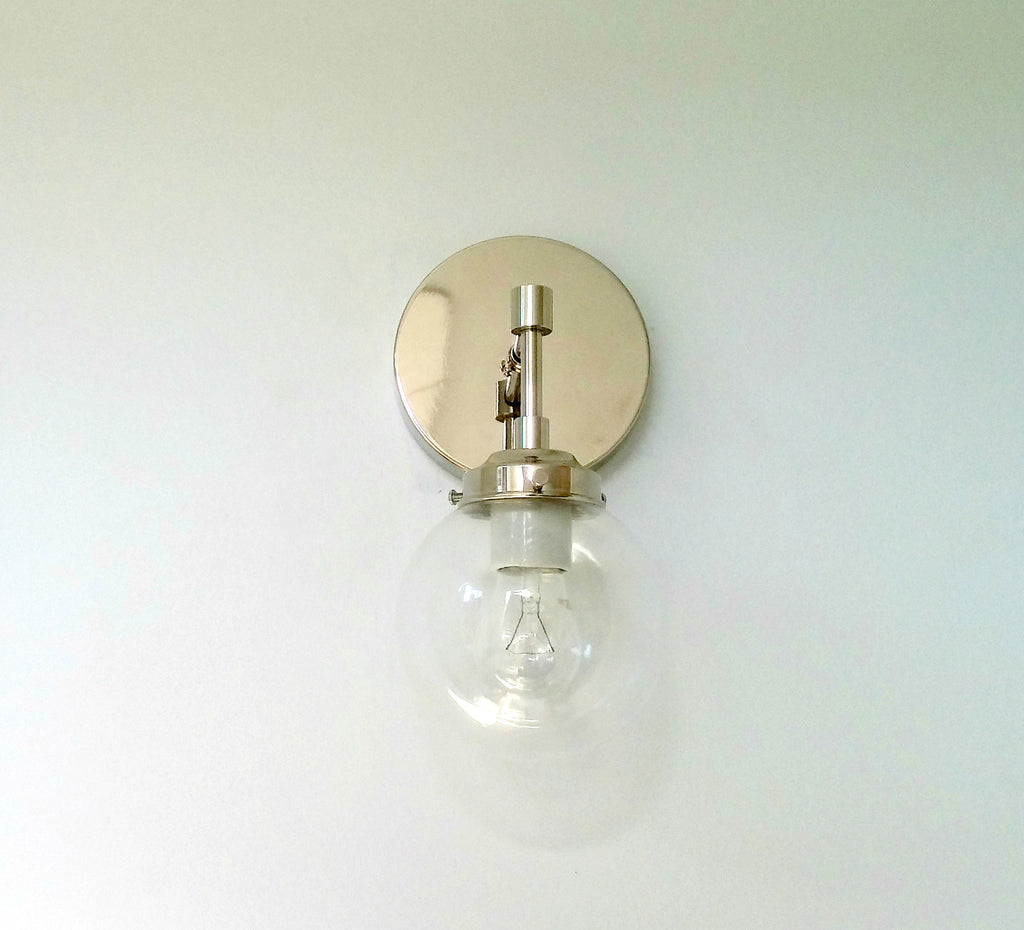 chrome and glass bathroom sconce modern sazerac stitches
