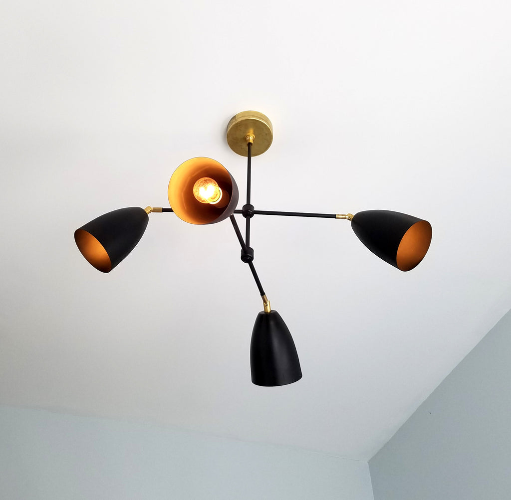 modern black and brass chandelier MCM mid-century modern sazerac stitches