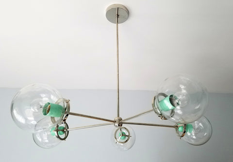 Cadiz Five Light Chandelier: modern chrome or brass chandelier with glass with a pop of color