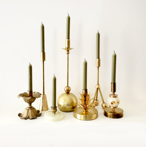 Brass & Onyx Seven Candle Holder Collection