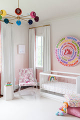 Rainbow midcentury inspired nursery chandelier modern baby girls decor