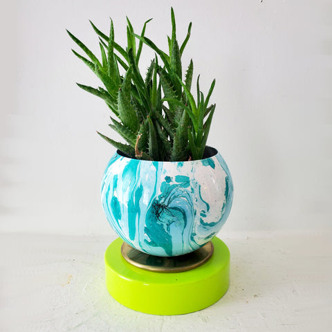 Blue-Green Marbled Planter with Chartreuse Base
